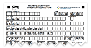 pre-populated form for the physician biometric screening option