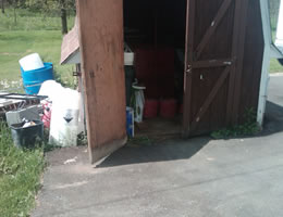 biometric testing supplies stored in backyard storage shed
